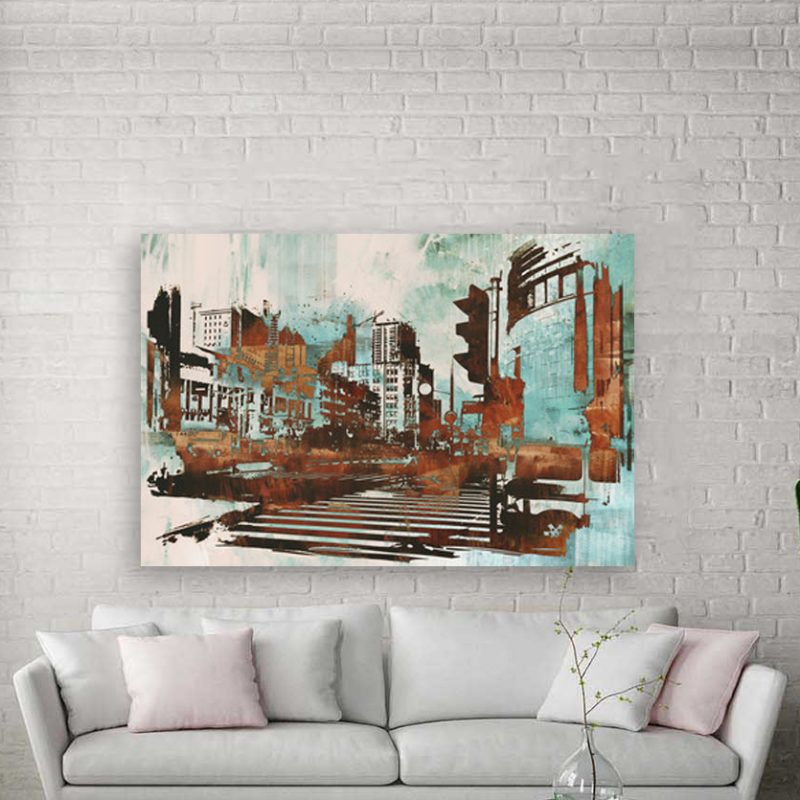 Urban cityscape with abstract πίνακας σε καμβά