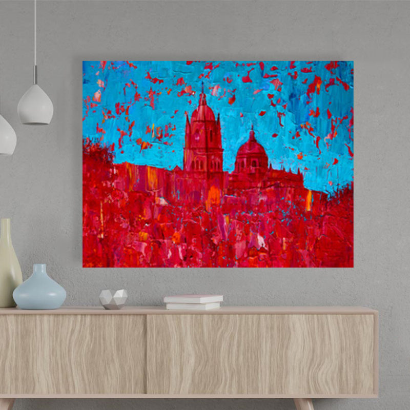 Πίνακας σε καμβά Abstract painting of the Salamanca church