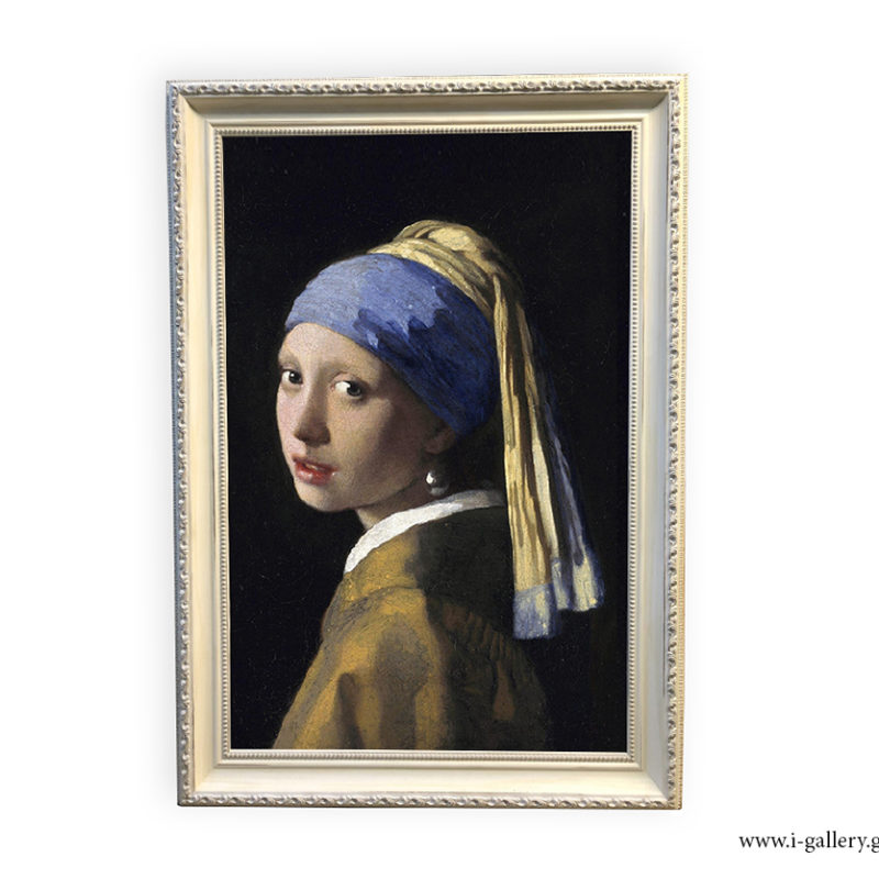 Girl with a pearl earring Vermeer πίνακας ζωγραφικής με κορνίζα