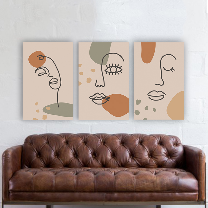 Abstract people faces art τρίπτυχος πίνακας σε καμβά